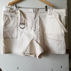 BP White Belted Shorts with Pockets